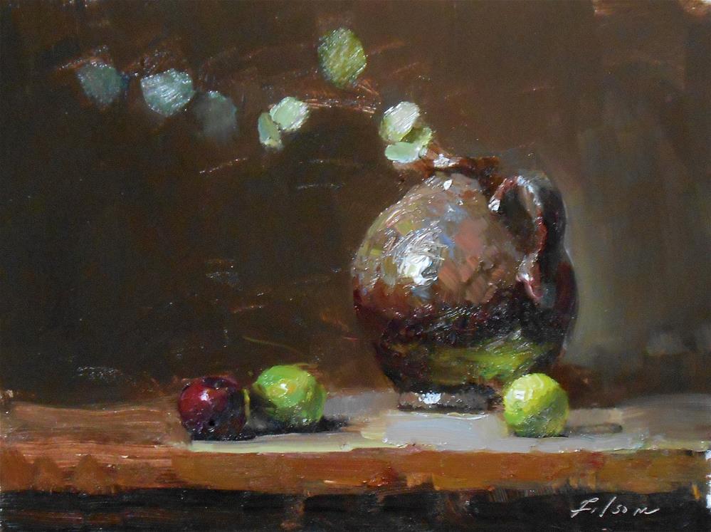 """""""Limes with Dark Jug"""" original fine art by Kelli Folsom"""