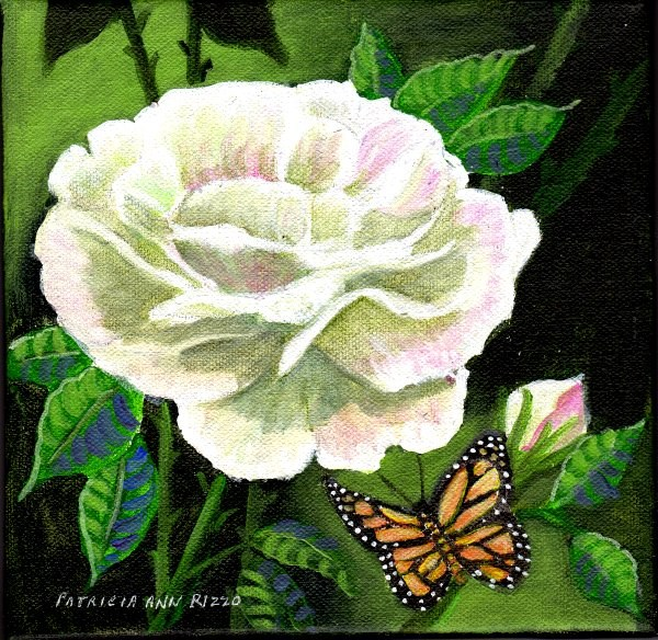 """Rose and Monarch"" original fine art by Patricia Ann Rizzo"