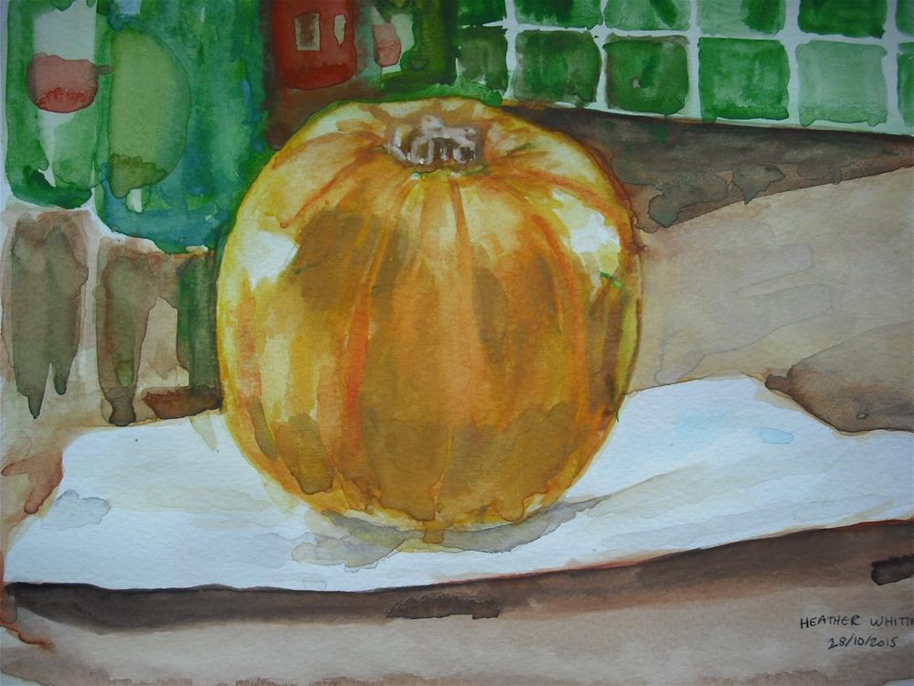 """""""Premature Pumpkin"""" original fine art by Heather Whiting"""
