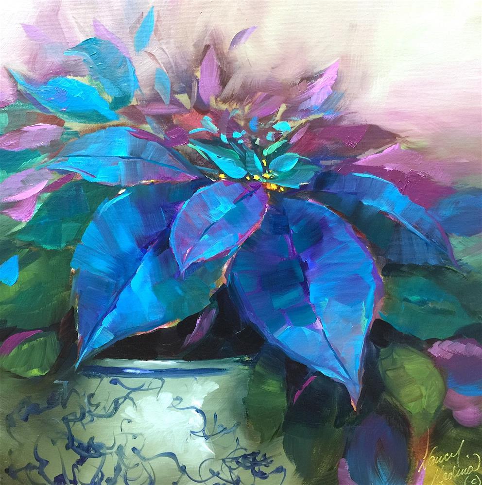 """Painted Ladies Blue Poinsettias - Nancy Medina Art Videos and Workshops"" original fine art by Nancy Medina"