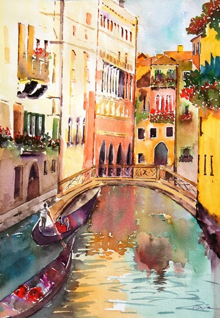 """Venice in love"" original fine art by Lisa Fu"