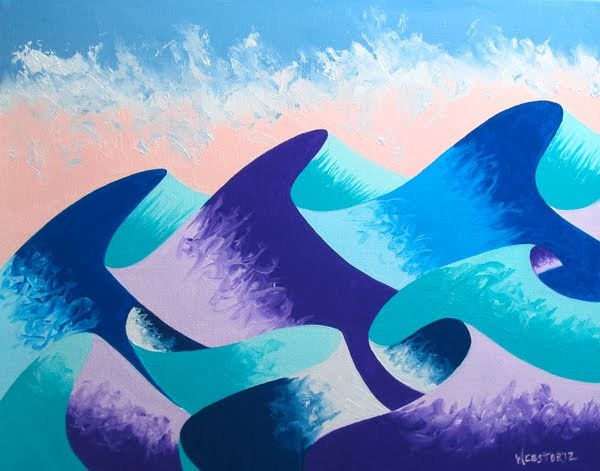 """Mark Webster - Waves #4 - Abstract Geometric Ocean Landscape Oil Painting"" original fine art by Mark Webster"