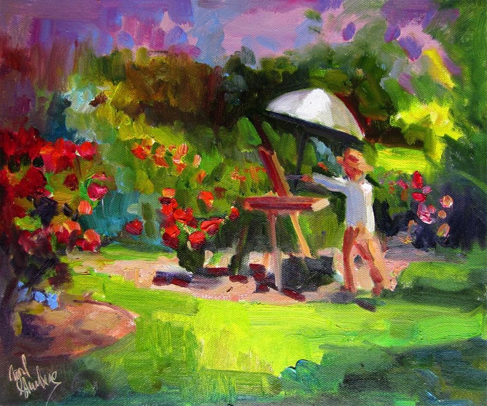 """""""Painter in the Gardens"""" original fine art by Carol Steinberg"""