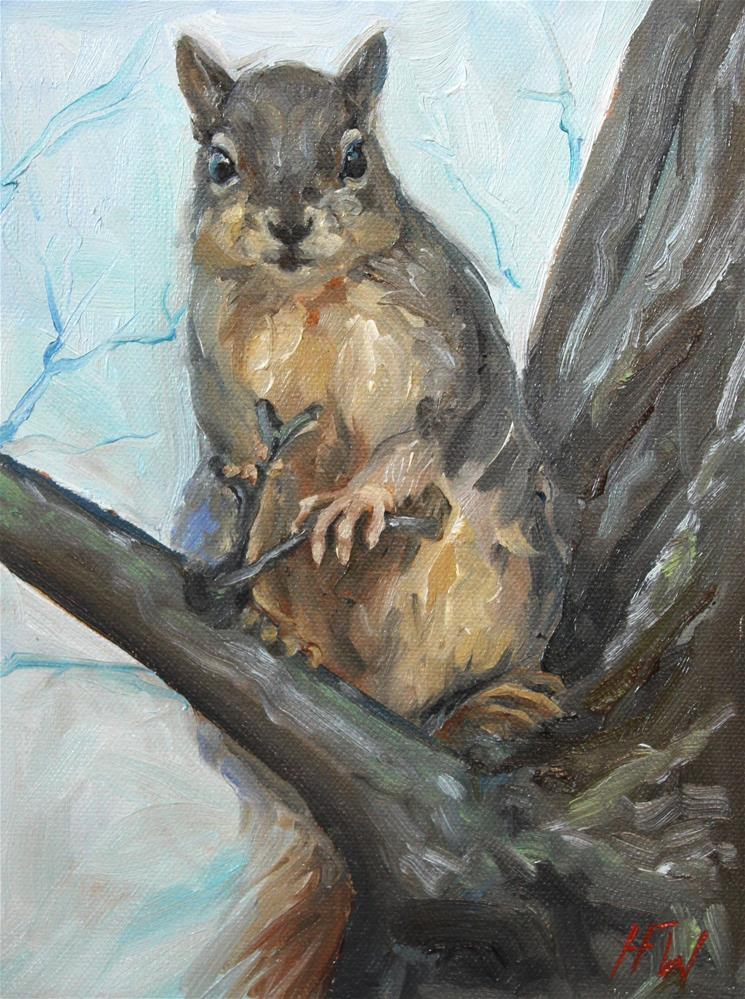 """Cheeky Squirrel"" original fine art by H.F. Wallen"