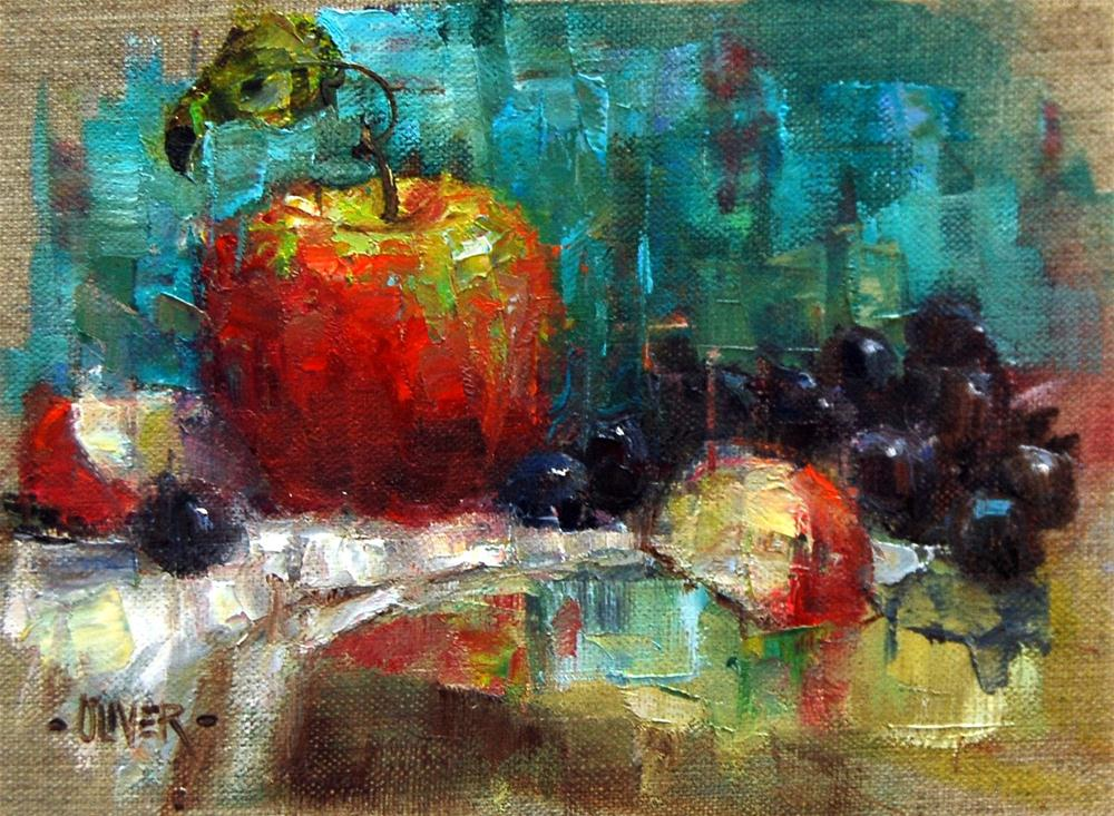 """Apple Artist Hint"" original fine art by Julie Ford Oliver"