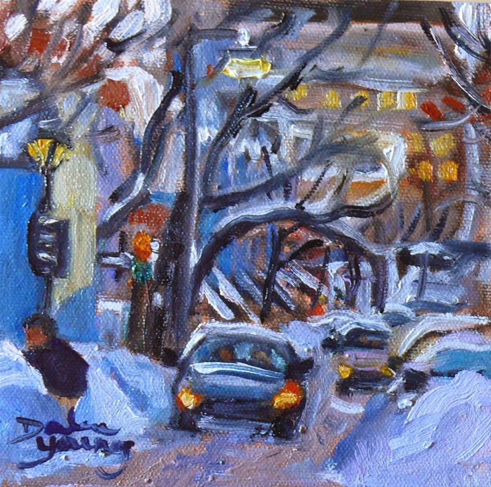 """799 Montreal Winter Scene, McGill Ghetto, 6x6"" original fine art by Darlene Young"