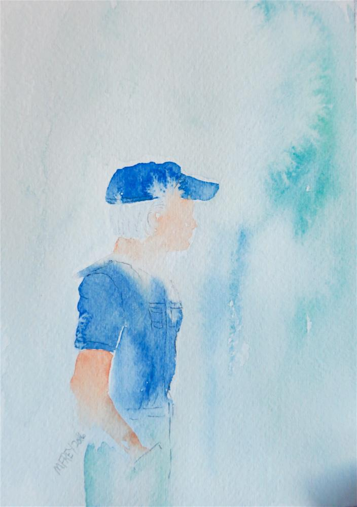 """Man With Blue Hat 0115"" original fine art by Michelina Frey"