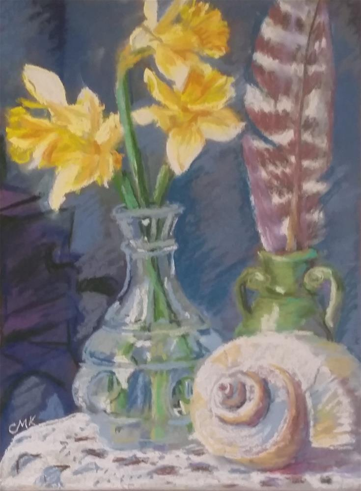 """Daffodil, turkey feather, and a Shell"" original fine art by Catherine Kauffman"