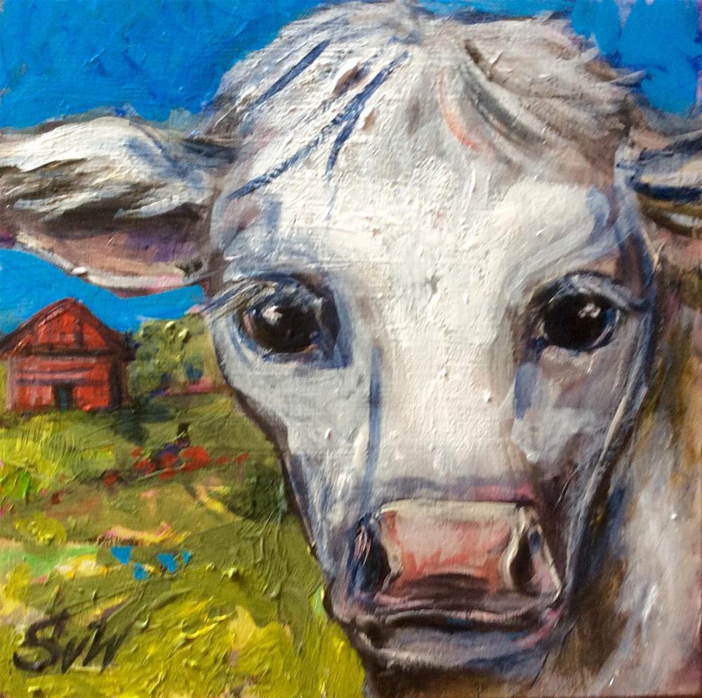 """Cow and red barn"" original fine art by Sonia von Walter"