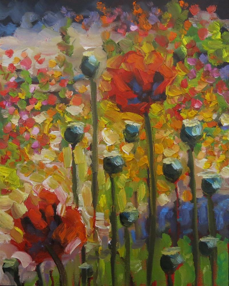 """#141  THE POPPY GARDEN"" original fine art by Dee Sanchez"