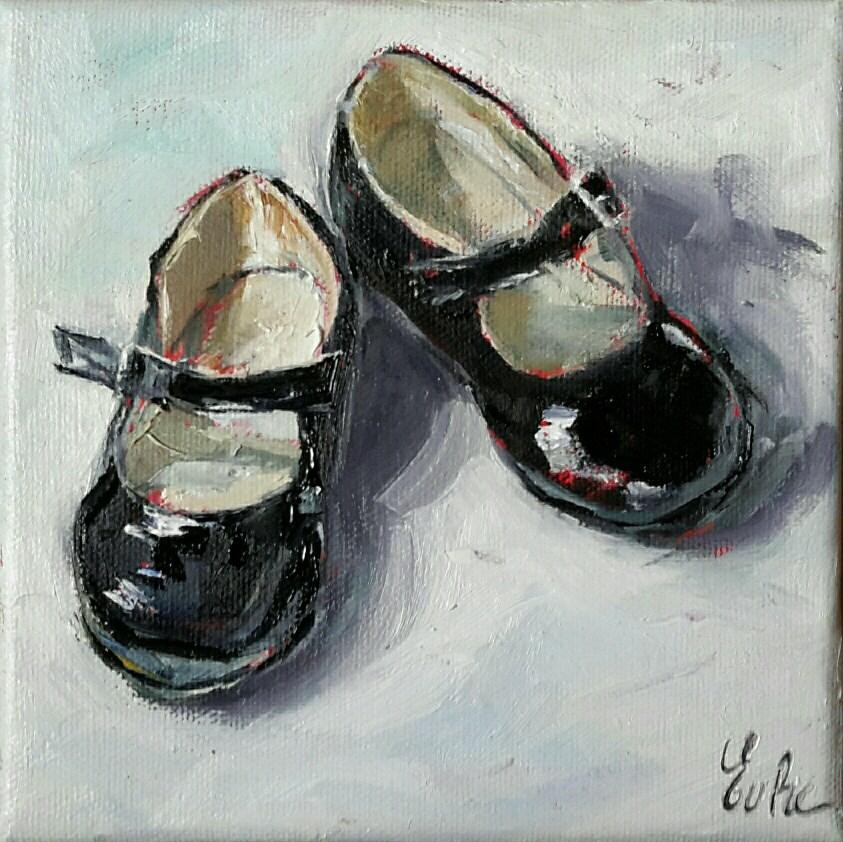 """""""Les petites chaussures vernies noires"""" original fine art by Evelyne Heimburger Evhe"""