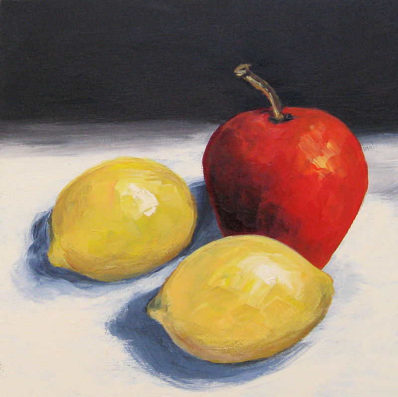 """Red Apple and Two Lemons"" original fine art by Torrie Smiley"