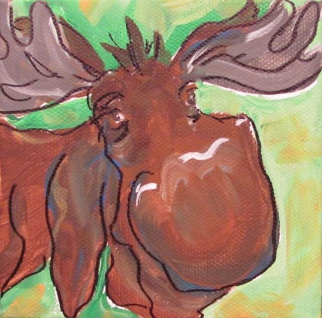 """Day 17-30 Paintings in 30 Days-Mini Moose"" original fine art by Terri Einer"