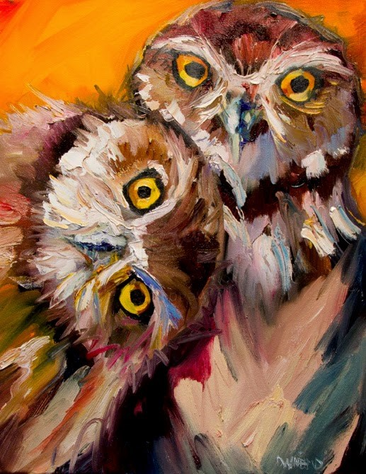 """ARTOUTWEST Burrowing Owl Duo Bird Woodland Creature Animal art by Diane Whitehead"" original fine art by Diane Whitehead"