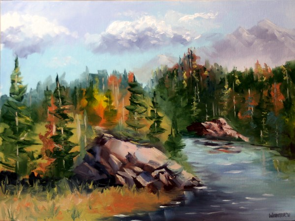 """Mark Adam Webster - Forest River Landscape Oil Painting"" original fine art by Mark Webster"