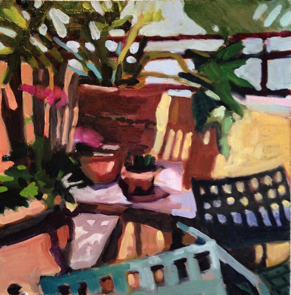 """Courtyard Corner"" original fine art by Pamela Hoffmeister"