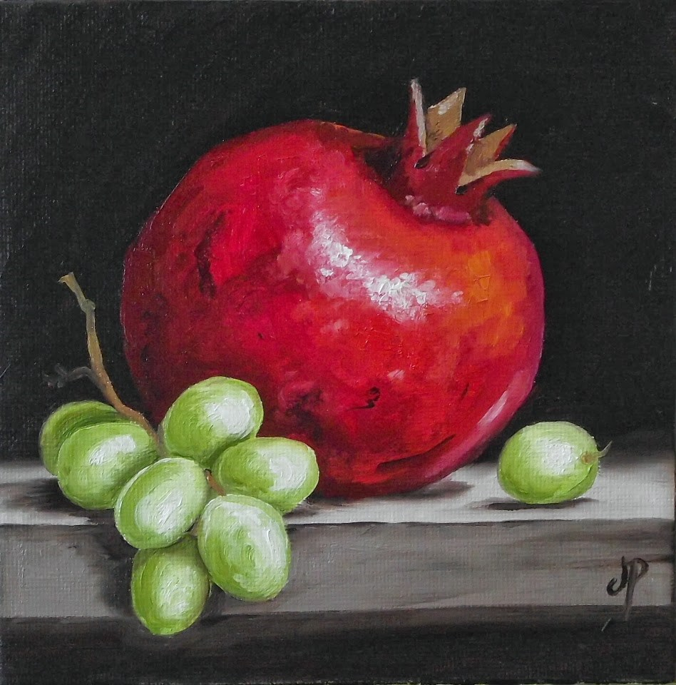 """Pomegranate with Grapes"" original fine art by Jane Palmer"