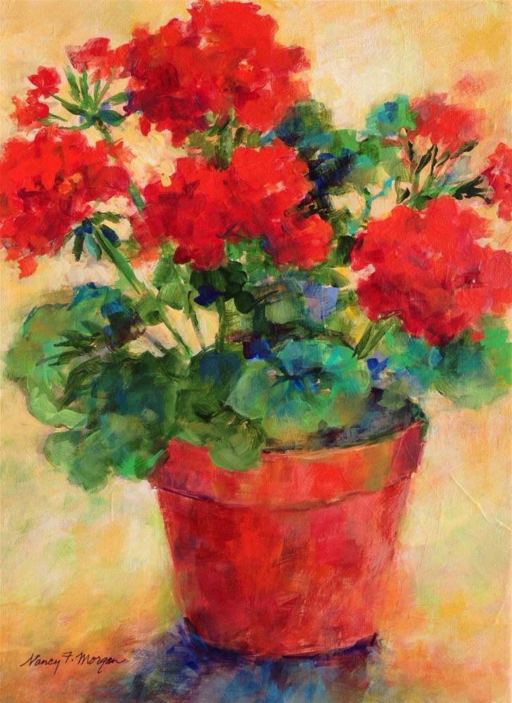 """Spring Geraniums"" original fine art by Nancy F. Morgan"