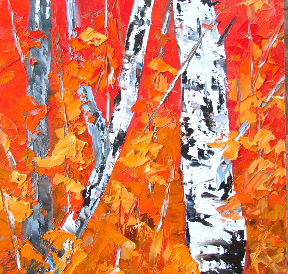 """8 x 8 inch oil LIttle Birches #13"" original fine art by Linda Yurgensen"