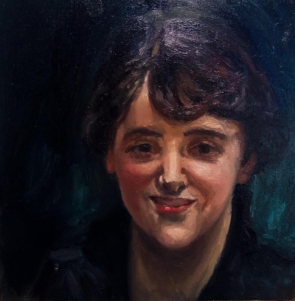 """Lady in black John Singer Sargent Study"" original fine art by Aleksandra Uzarek"