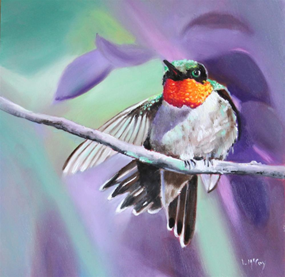 """Wing Up! Hummingbird Oil Painting"" original fine art by Linda McCoy"