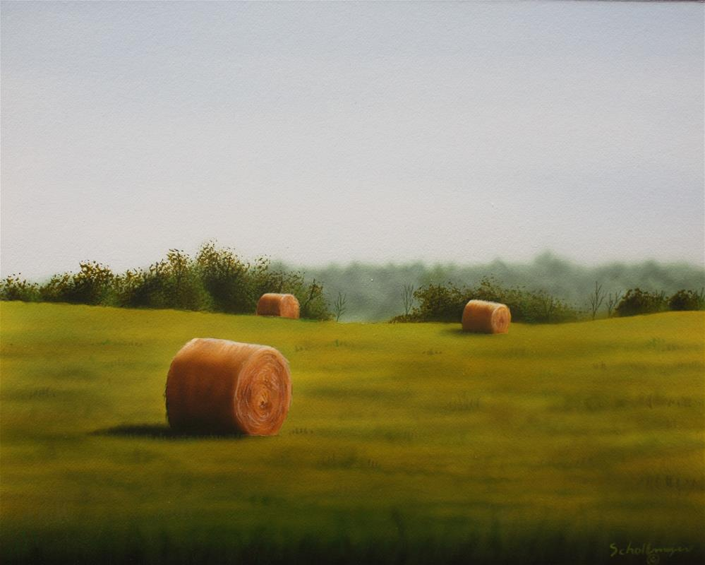 """The South Ridge Hay Field"" original fine art by Fred Schollmeyer"
