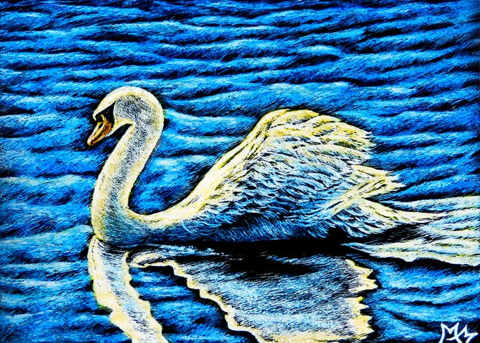 """Swan"" original fine art by Monique Morin Matson"