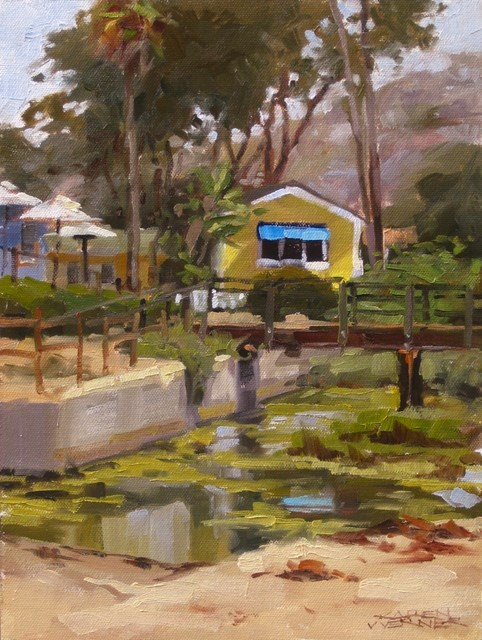 """Yellow Cottage"" original fine art by Karen Werner"
