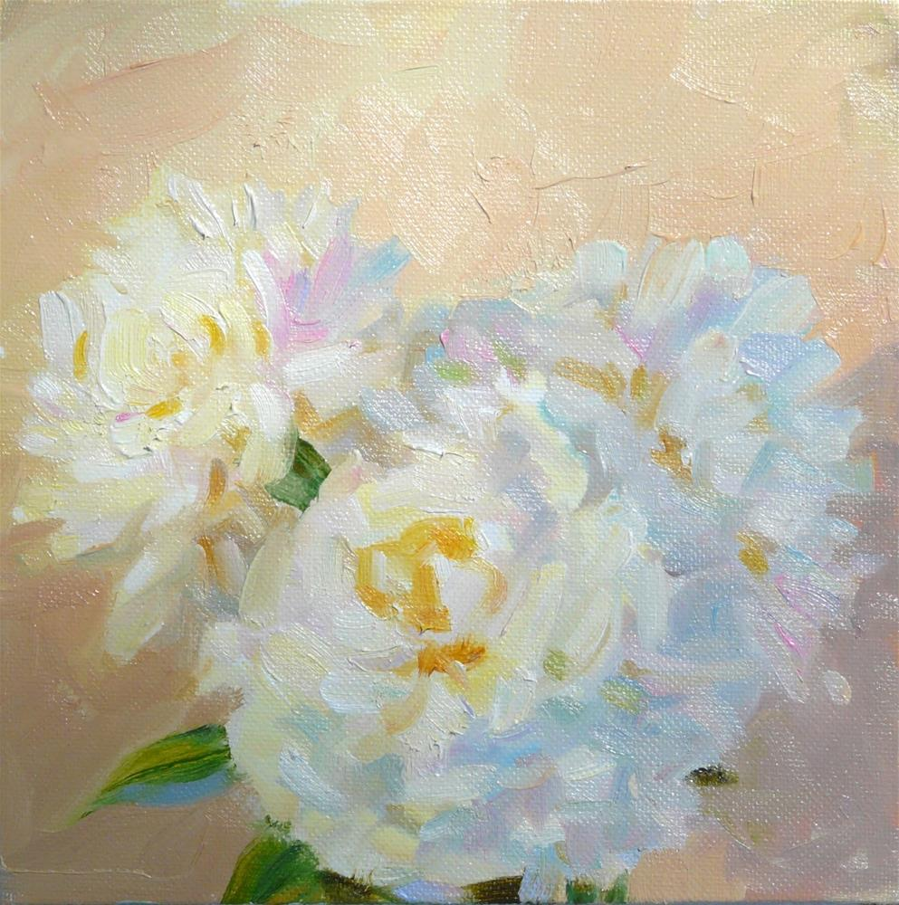 """White Peonies in Shade,still life, oil on canvas,8x8,price$200"" original fine art by Joy Olney"