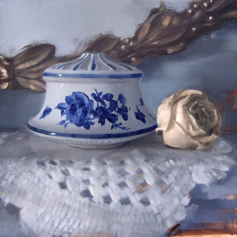 """Gold Leaf Mirror, Delftware Finial and Dried Rose (no.90)"" original fine art by Michael William"