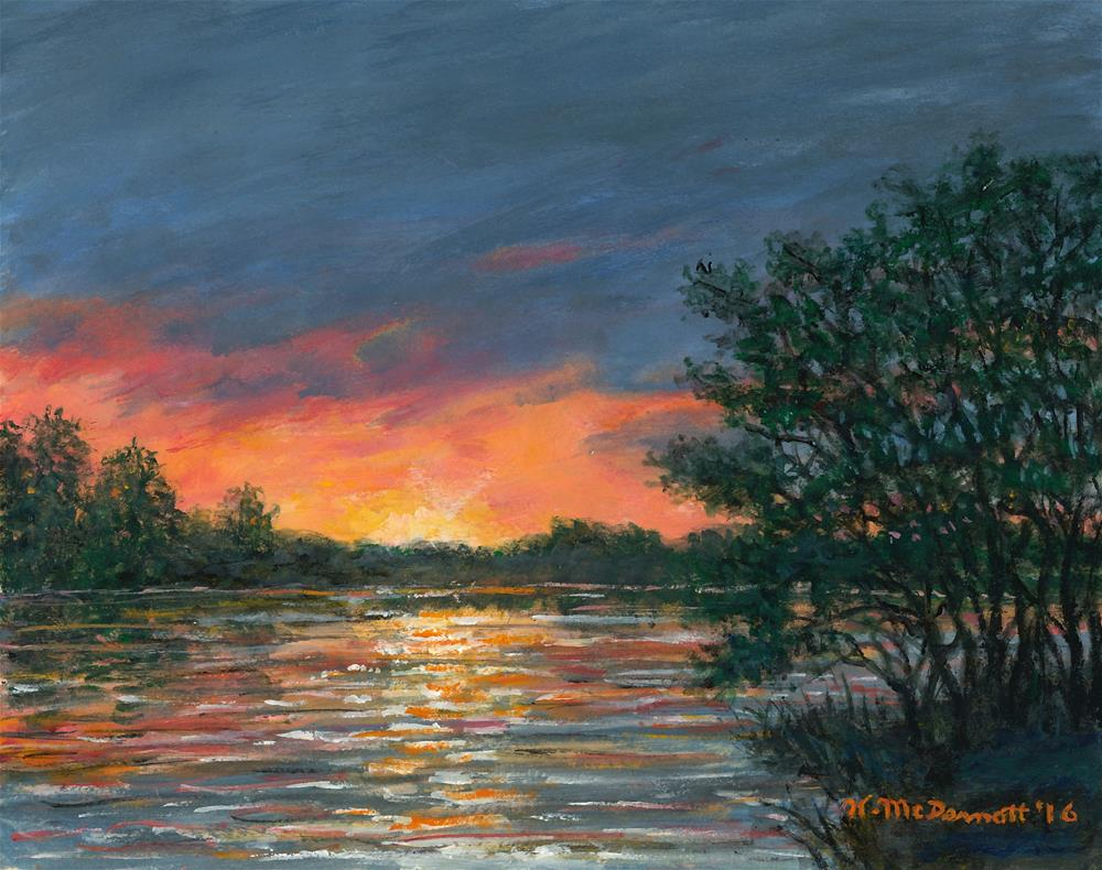 """Waterway Sundown (SOLD)"" original fine art by Kathleen McDermott"