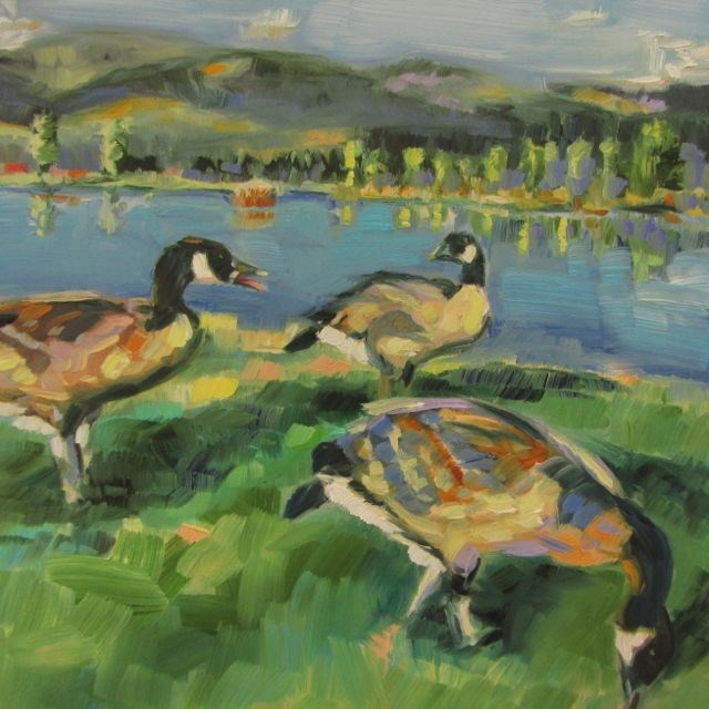 """GEESE AT THE LAKE"" original fine art by Mb Warner"