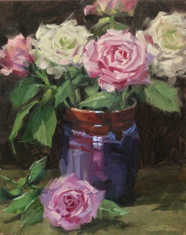 """""""Roses In A Blue Vase"""" original fine art by Karen Werner"""