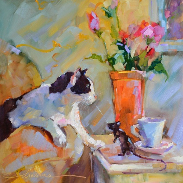 """Coffee Cat/ Macchiato Mouse  SOLD"" original fine art by Dreama Tolle Perry"