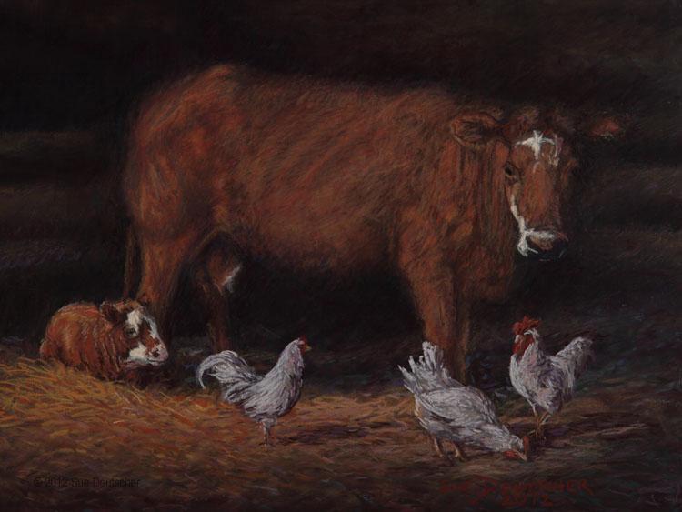 """""""In the Barn Light"""" original fine art by Sue Deutscher"""