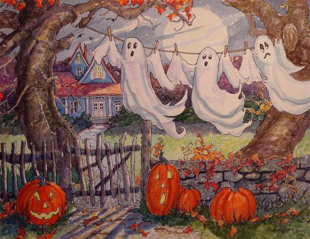 """""""Halloween Laundry Revisited"""" original fine art by Alida Akers"""