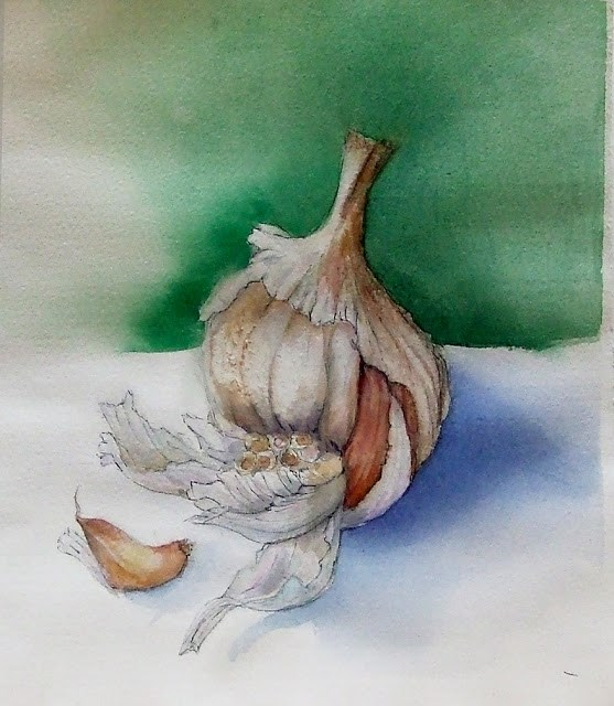 """garlic"" original fine art by Mitsuru Cope"