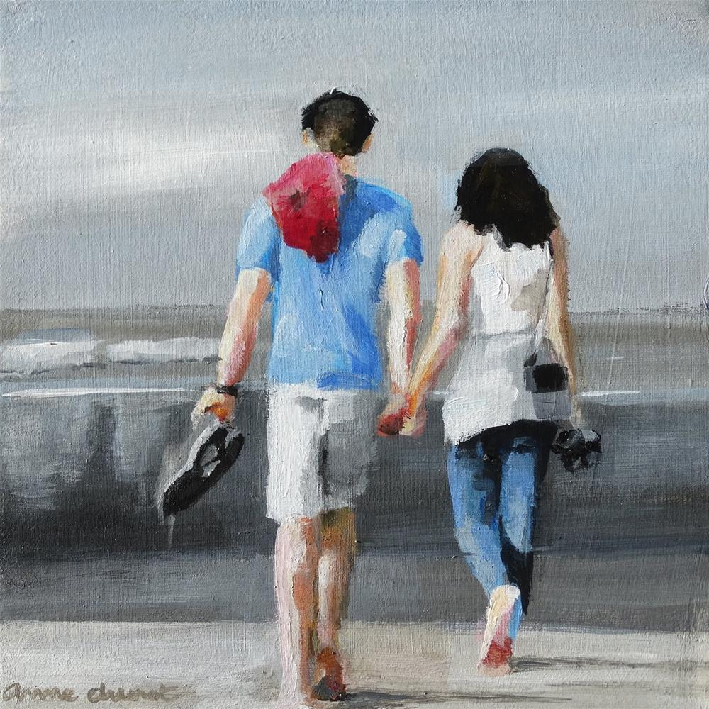 """Let's take a walk on the beach"" original fine art by Anne Ducrot"