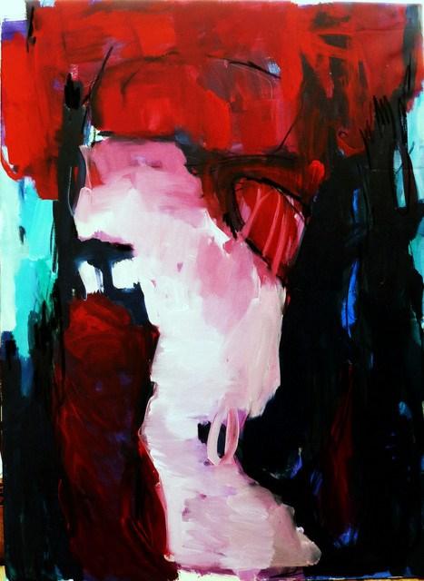 """rote Gedanken / red thoughts"" original fine art by Mila Plaickner"