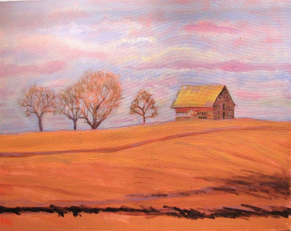"""Heartland Winter  22x28 acrylic"" original fine art by Christine Holzschuh"
