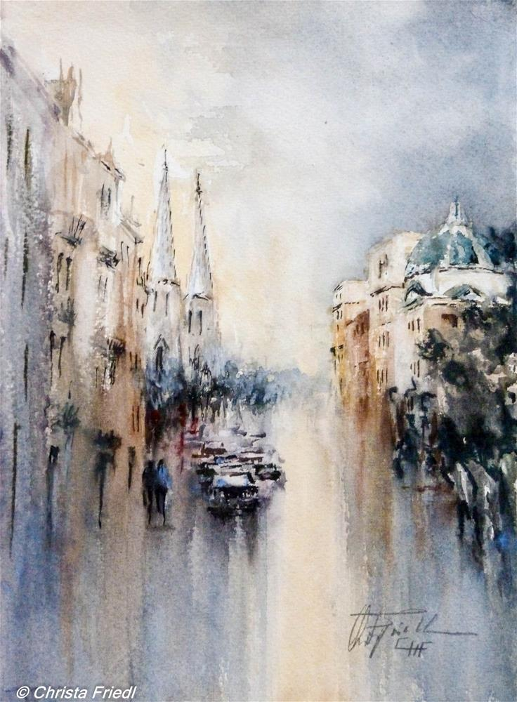 """Vienna Reichsratsstrasse"" original fine art by Christa Friedl"