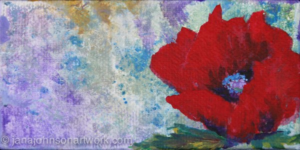 """Red  Poppy"" original fine art by Jana Johnson"