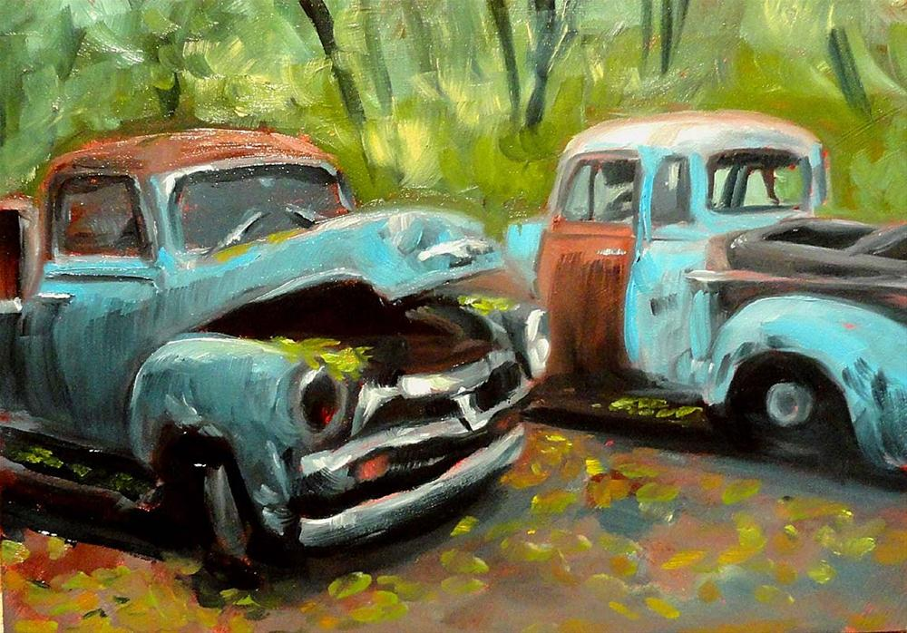 """Two Old Blue Trucks"" original fine art by Cietha Wilson"