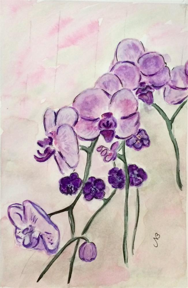 """Orchid # 3 Watercolor  9 x 6"" original fine art by Nancy Beard"