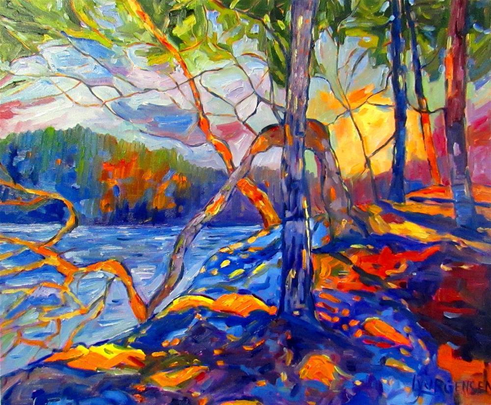 """20 x 24 inch oil Arbutus Mosaic"" original fine art by Linda Yurgensen"