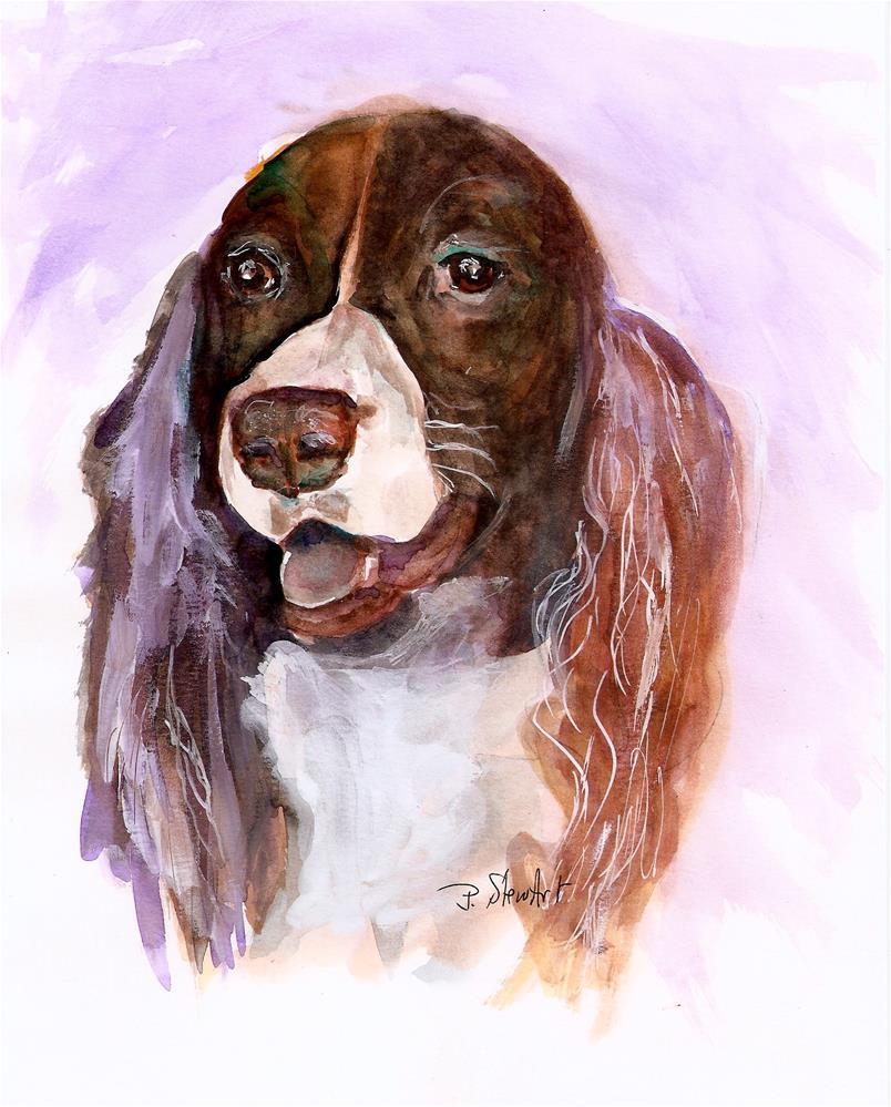 """8x10 English Springer Spaniel Dog Watercolor and Higgins Ink Penny StewArt"" original fine art by Penny Lee StewArt"
