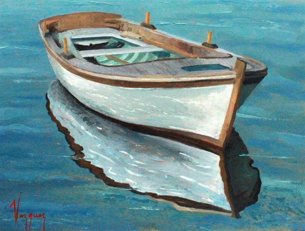 """Traditional rowboat"" original fine art by Marco Vazquez"