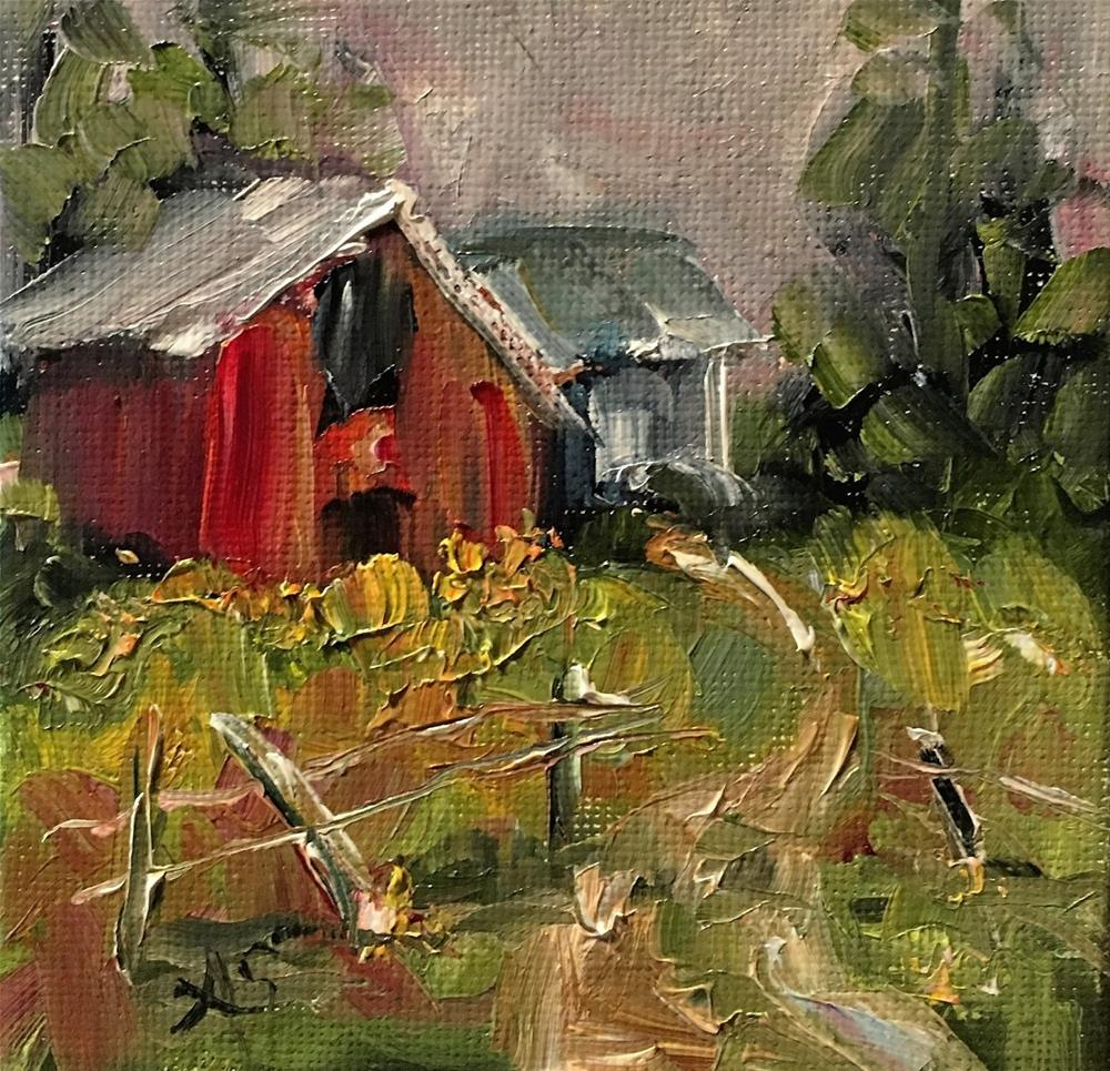 """The Tiny Barn landscape painting by Alabama Artist Angela Sullivan"" original fine art by Angela Sullivan"