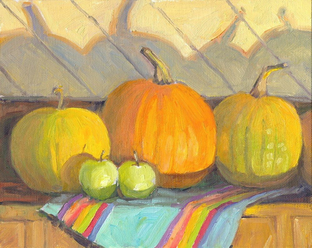 """""""3 Pumpkins"""" original fine art by Kath Reilly"""