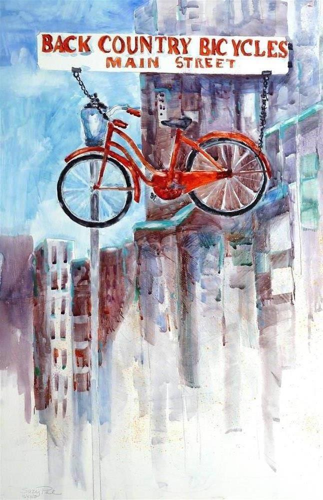 """Bike Shop"" original fine art by Suzy 'Pal' Powell"